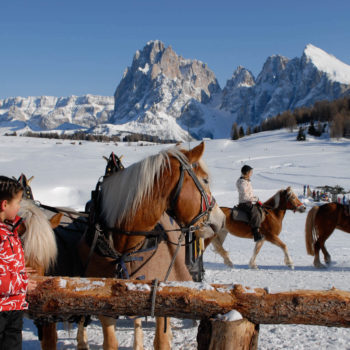 Riding on the Seiser Alm