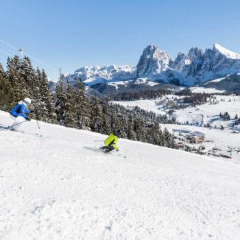 Meist schönes Wetter auf den Skipisten in den Dolomiten