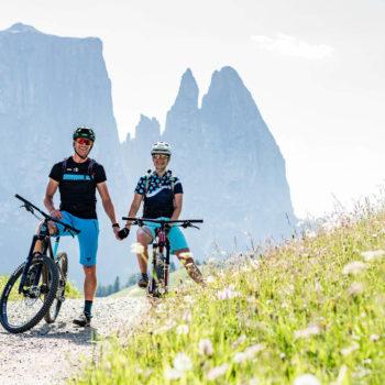 In mountain bike sull'Alpe di Siusi